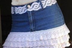Saia jeans com babados