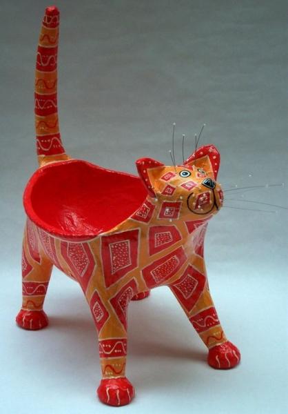 Decoração: Vasilha (bowl) gato feita de papel machê