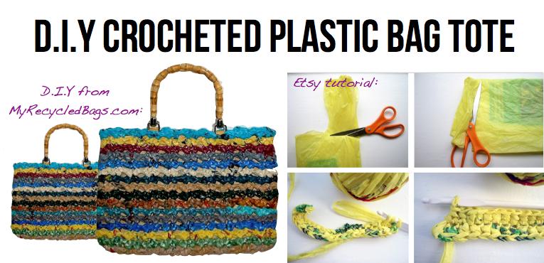 Tote bag feita com sacolas plásticas
